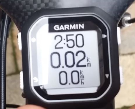 Deafult display Garmin Edge 25
