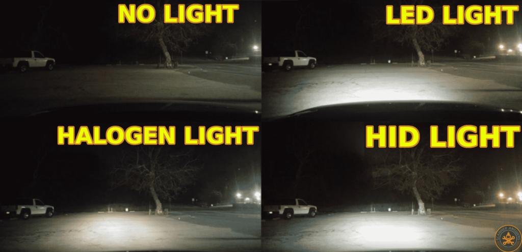 Perbandingan cahaya Halogen HID LED