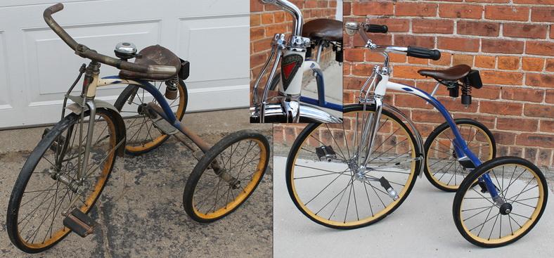 Sebelum dan sesudah restorasi sepeda roda tiga