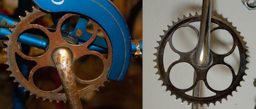 crankset sepeda tua sebelum dan sesuda direndam
