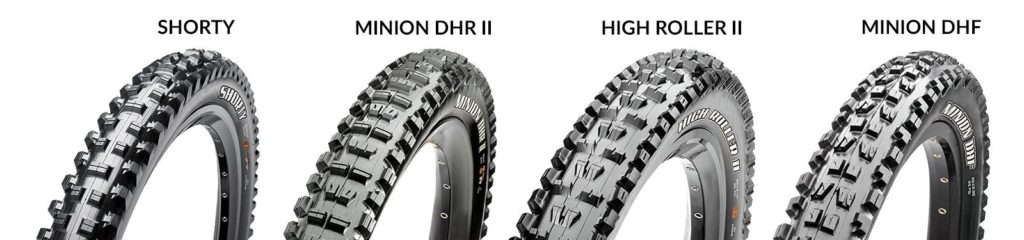 Maxxis Shorty, Minion DHR II, High Roller II, Minion DHF