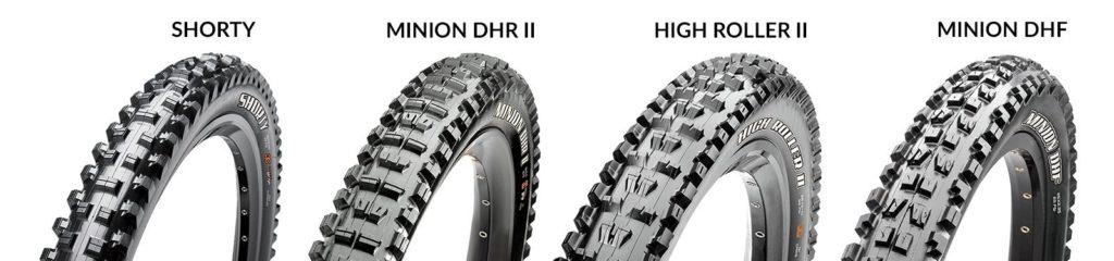 Maxxis Shorty, Minion DHR II, High Roller II, Minion DHF