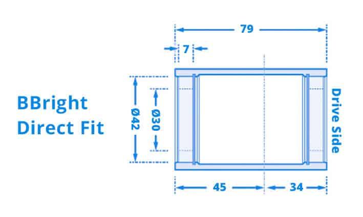 Dimensi Bottom Bracket BBright-Direct-Fit79x42mm