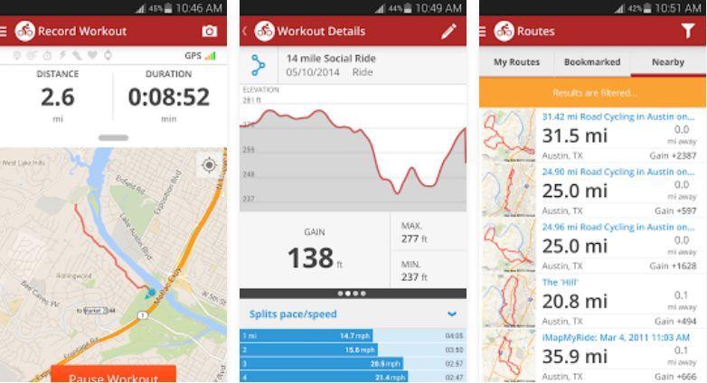 Map My Ride - Tampilan Aplikasi