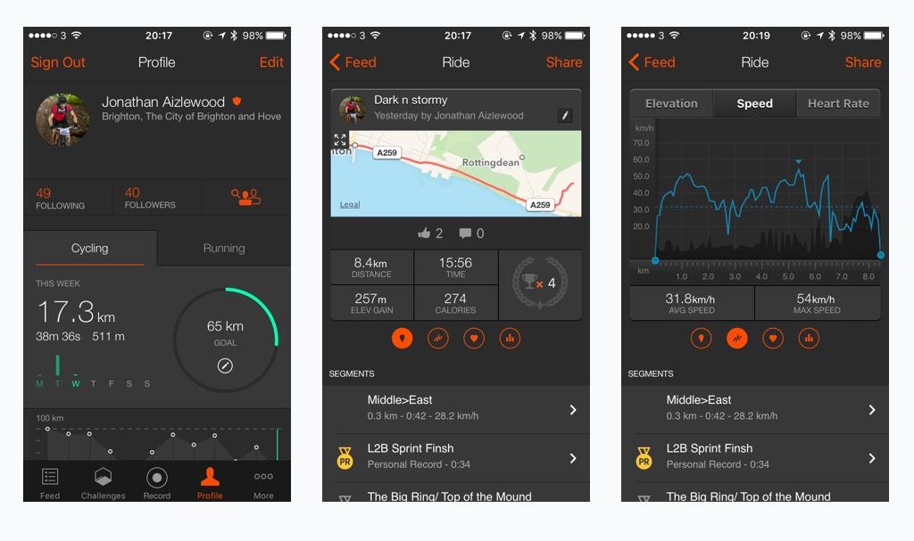 Strava - tampilan pada aplikasi