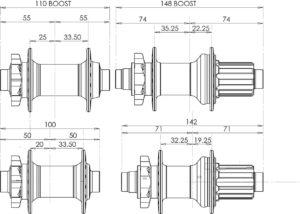 Perbedaan dimensi pada hub BOOST sepeda