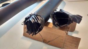 Frame sepeda karbon yang patah