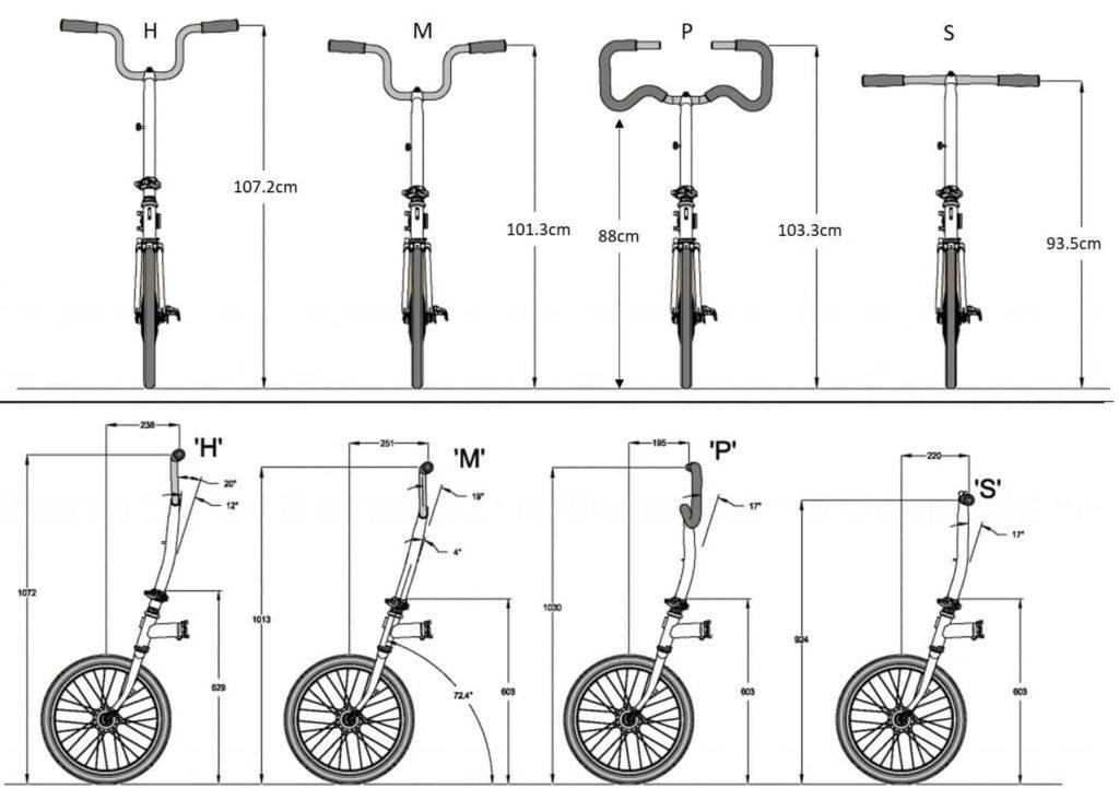 Perbandingan Jenis stang sepeda lipat Brompton