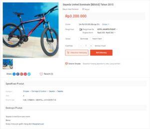 Contoh deskripsi produk sepeda bekas