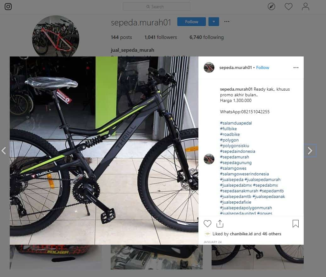 Waspada terhadap penjual sepeda online penipu