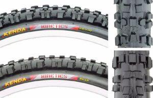 Ban sepeda gunung pada roda depan dan belakang yang berbeda