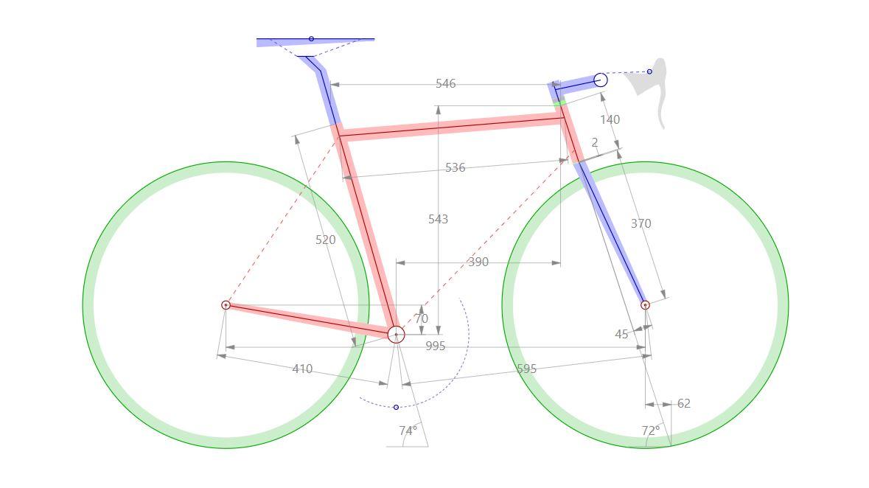 Panjang dan sudut pada frame sepeda