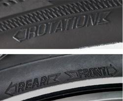 Profil rotasi dan arah pada ban sepeda