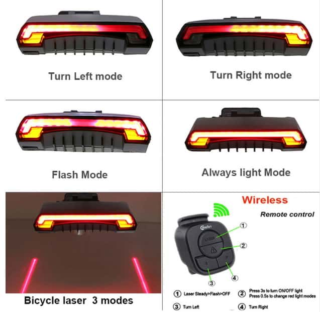 Lampu sepeda laser dan signal dengan remote
