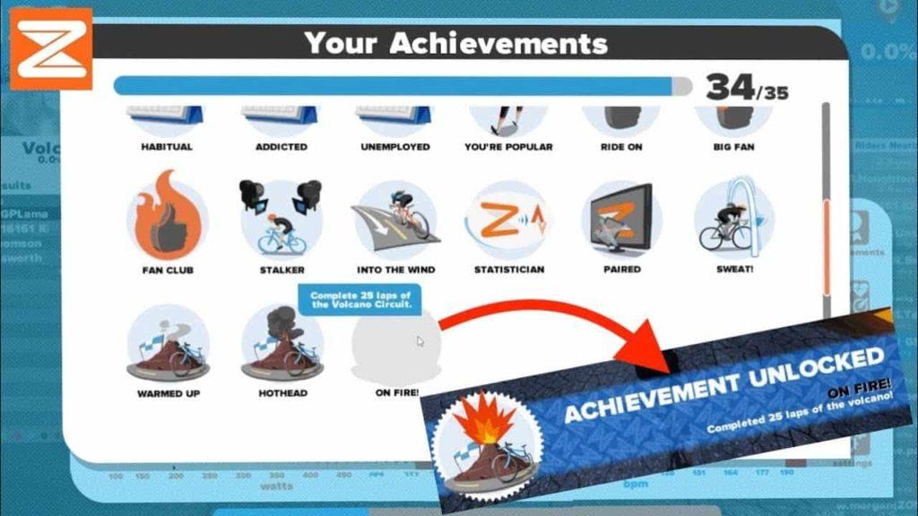 Achievement Unlock pada level Zwift