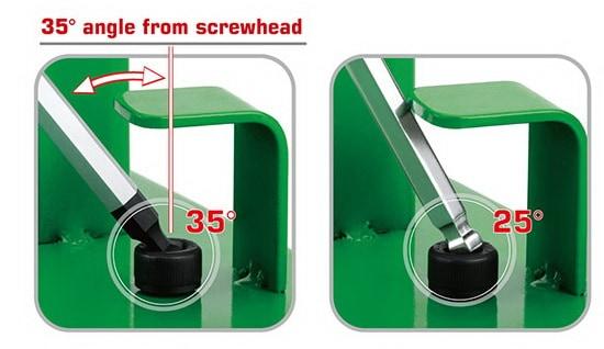 Ball point hex key untuk sudut miring