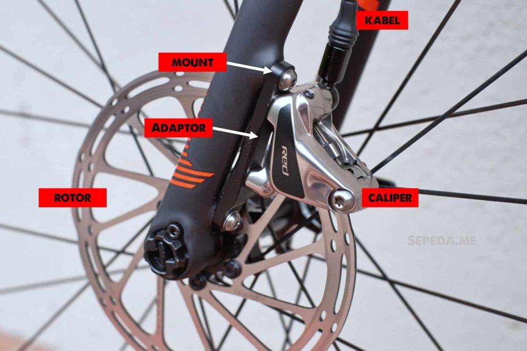 Komponen pada disc brake sepeda