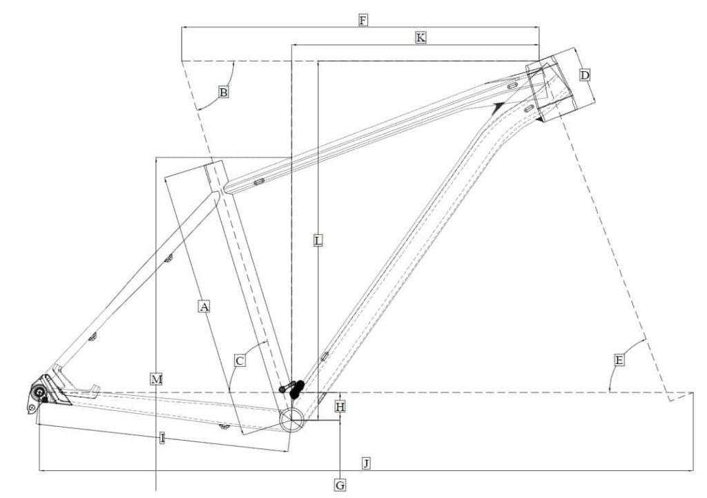Dimensi geometri sepeda XC Polygon