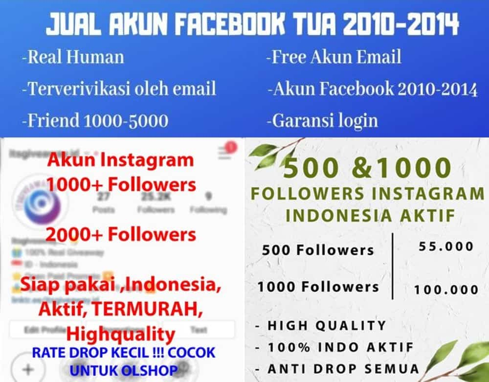 Jasa follower dan jual akun media sosial