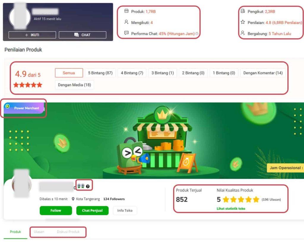 Periksa reputasi-jumlah transaksi-rating-bintang dari penjual online