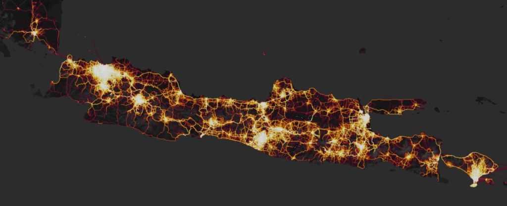Strava Heatmap untuk pulau Jawa