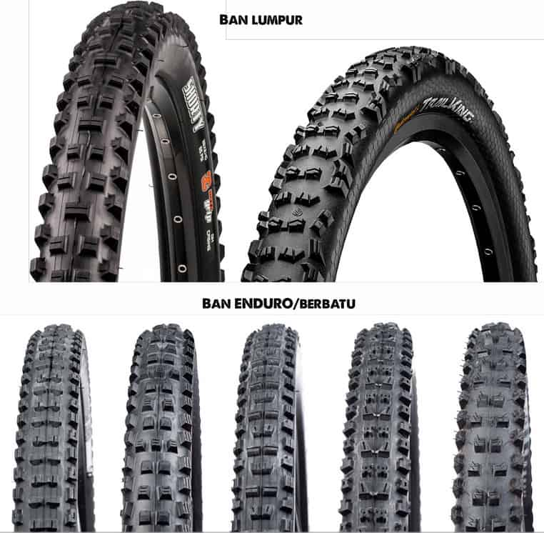 Tapak ban sepeda gunung untuk lumpur dan berbatu