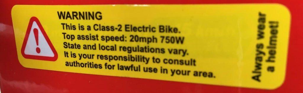 Contoh Label Sepeda listrik kelas 2 (Ebike Class 2)